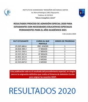 Resultados proceso de admisión especial 2020